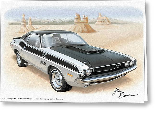 Valiant Greeting Cards - 1970 CHALLENGER T-A Dodge muscle car sketch rendering Greeting Card by John Samsen
