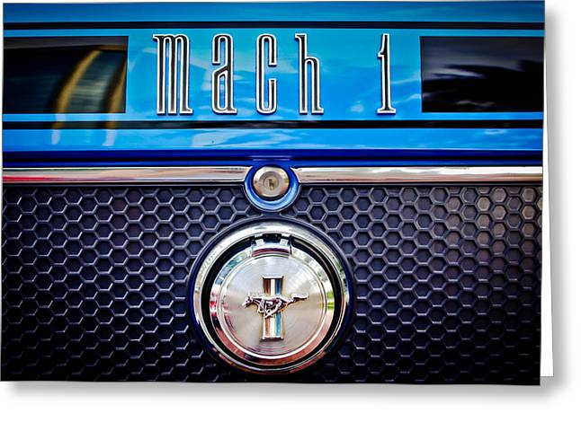 1970 Ford Mustang Gt Mach 1 Emblem Greeting Card