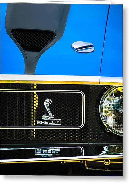 1970 Ford Mustang Gt350 Replica Grille Emblem Greeting Card by Jill Reger