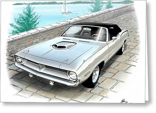 1970 Hemi Cuda Plymouth Muscle Car Sketch Rendering Greeting Card by John Samsen