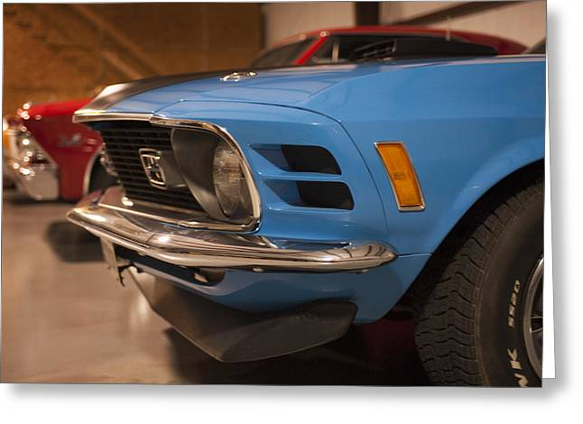 1970 Mustang Mach 1 And Other Classics Hidden In A Garage Greeting Card