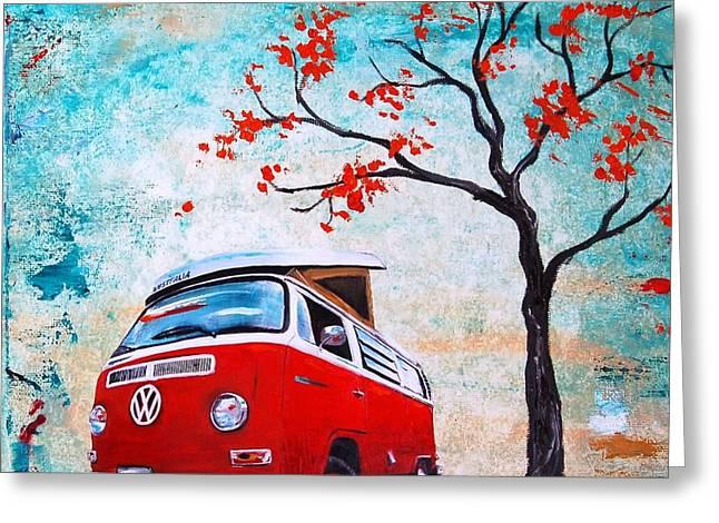 1970 Red Volkswagen Camper Bus Greeting Card by Sheri Wiseman