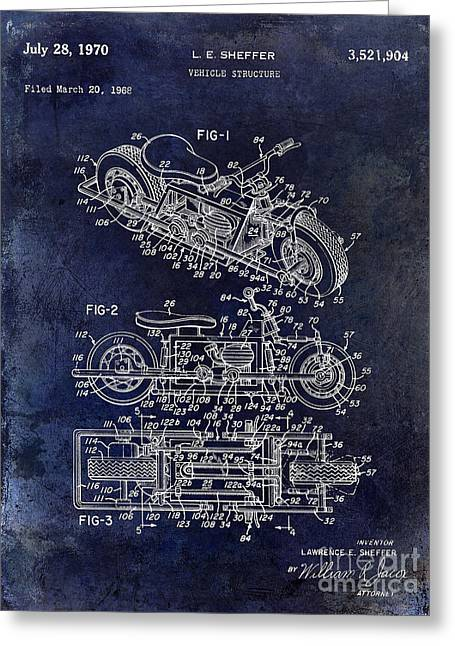 1970 Triumph Motorcycle Patent Drawing Blue Greeting Card