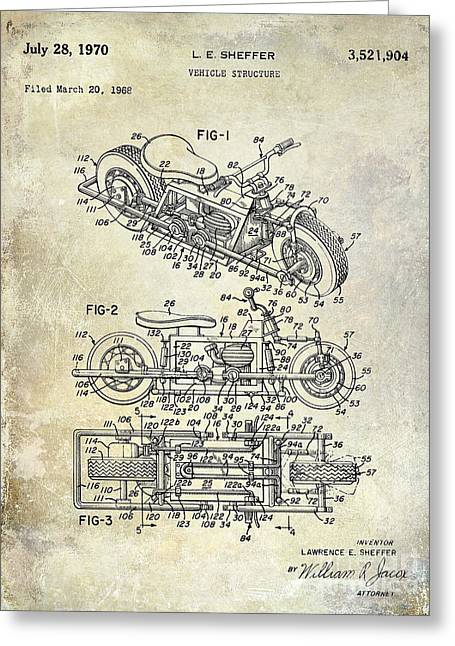 1970 Triumph Motorcycle Patent Drawing Greeting Card