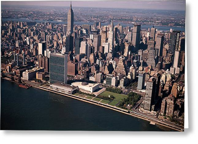 1970s Aerial View Midtown Manhattan Greeting Card