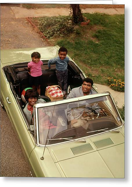 1970s African American Family Of Four Greeting Card