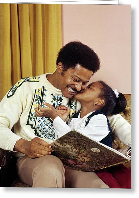 1970s African American Girl Kissing Greeting Card