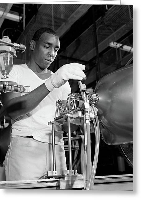 1970s African American Man In Factory Greeting Card