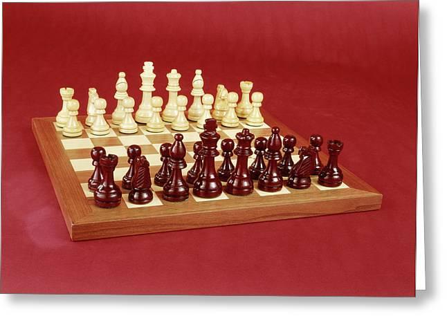 1970s Chess Set Arranged On Board Still Greeting Card
