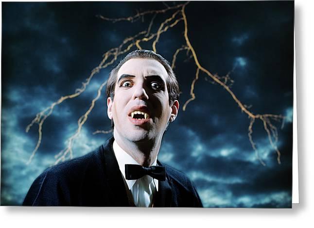 1970s Dracula Vampire Character Looking Greeting Card