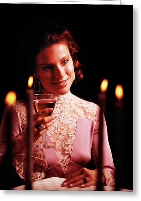 1970s Elegant Woman Evening Dress Lacy Greeting Card