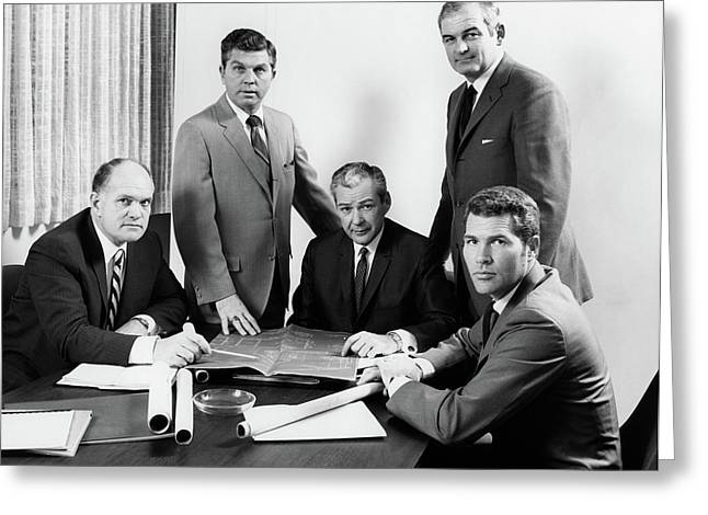 1970s Five Men Executives Assembled Greeting Card