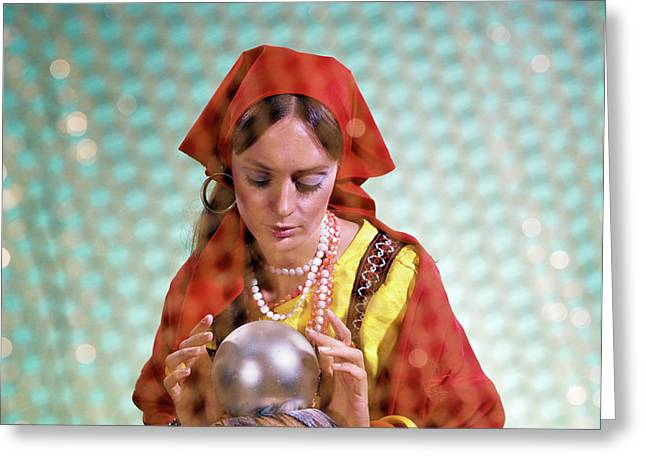 1970s Gypsy Woman Looking Into Crystal Greeting Card