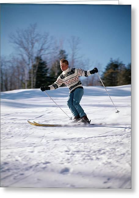 1970s Man Skiing Down Hill Greeting Card