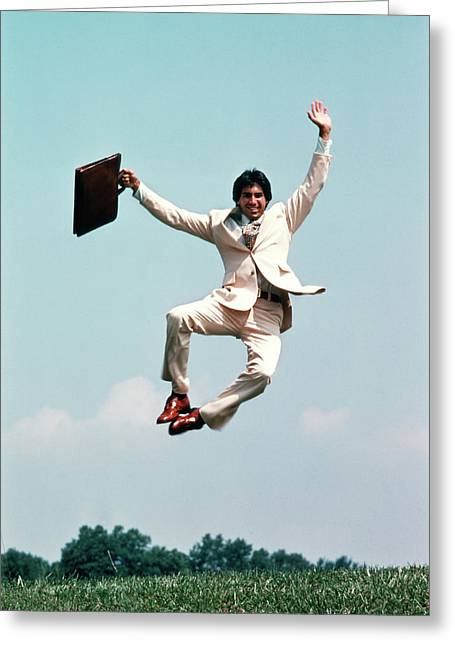 1970s Man Wearing Business Suit Jumping Greeting Card