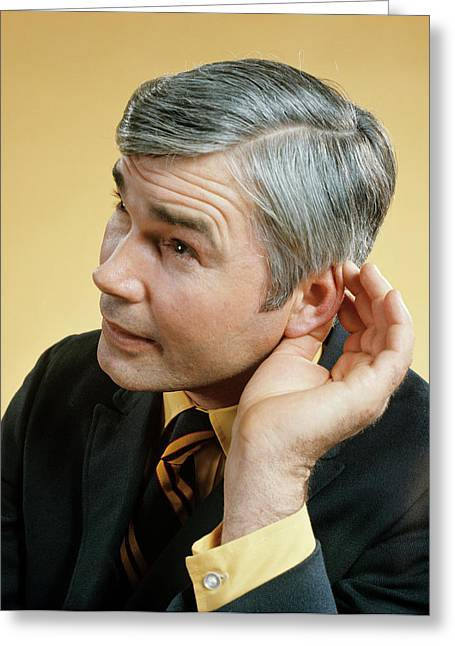 1970s Middle Aged Man Cupping Ear Greeting Card