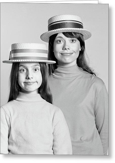 1970s Mother And Daughter Portrait Look Greeting Card