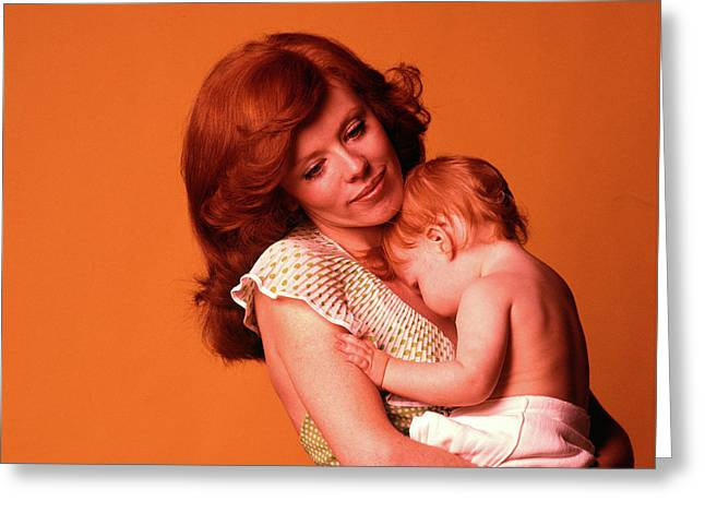 1970s Pensive Smiling Red Headed Mother Greeting Card