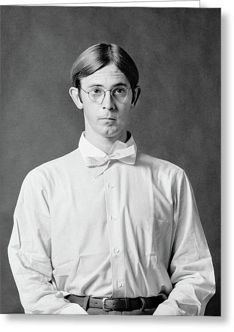 1970s Portrait Geeky Dorky Shy Greeting Card