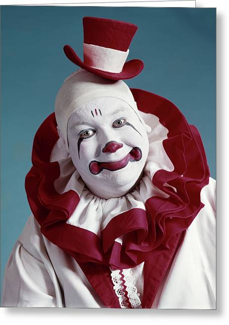 1970s Portrait Of Circus Clown In Red Greeting Card