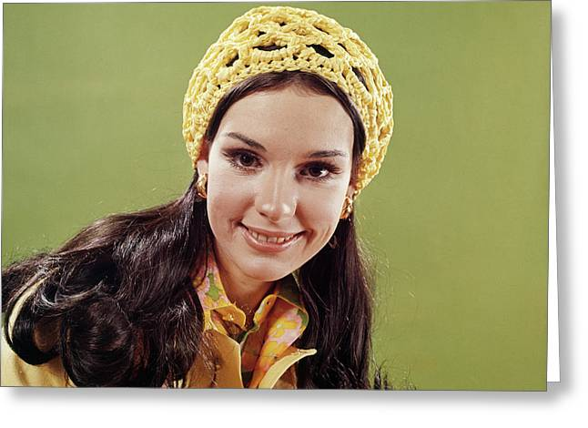 1970s Portrait Smiling Young Long Hair Greeting Card