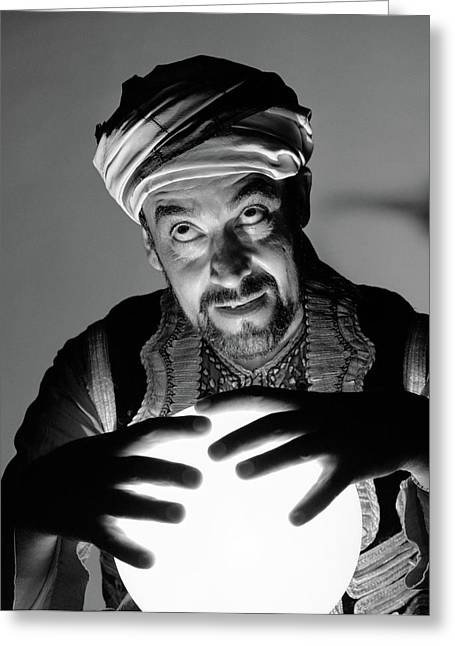 1970s Scary Fortune Teller Man Greeting Card