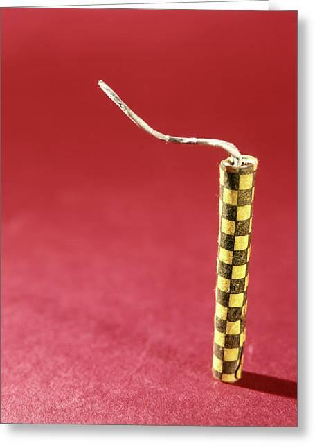 1970s Single Yellow Firecracker Fuse Greeting Card