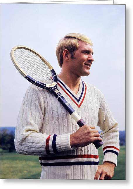 1970s Smiling Blonde Man Wearing Cable Greeting Card