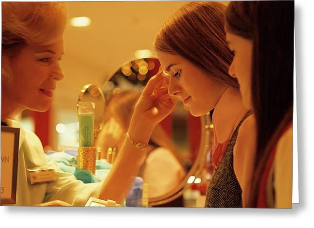 1970s Teen Girls At Make Up Counter Greeting Card