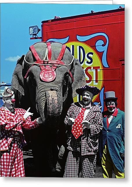 1970s Three Circus Clowns Looking Greeting Card