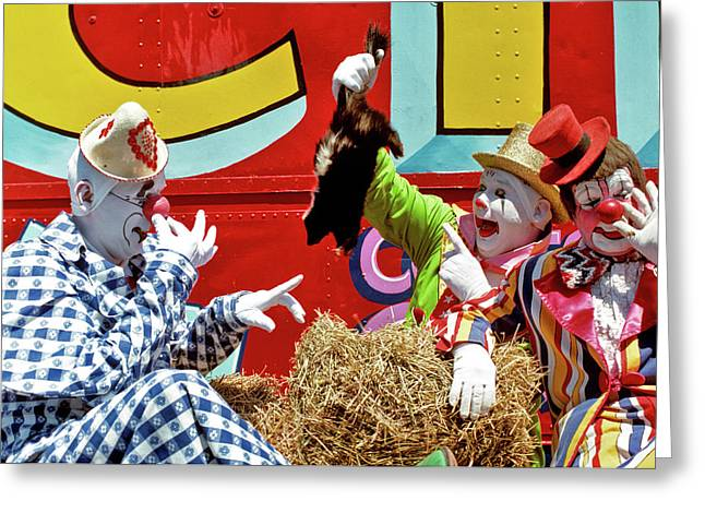 1970s Three Circus Clowns With Skunk Greeting Card