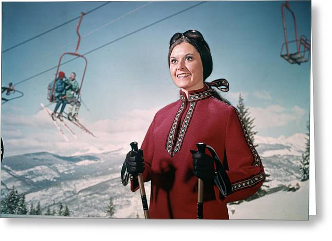 1970s Woman In Winter Gear And Goggles Greeting Card