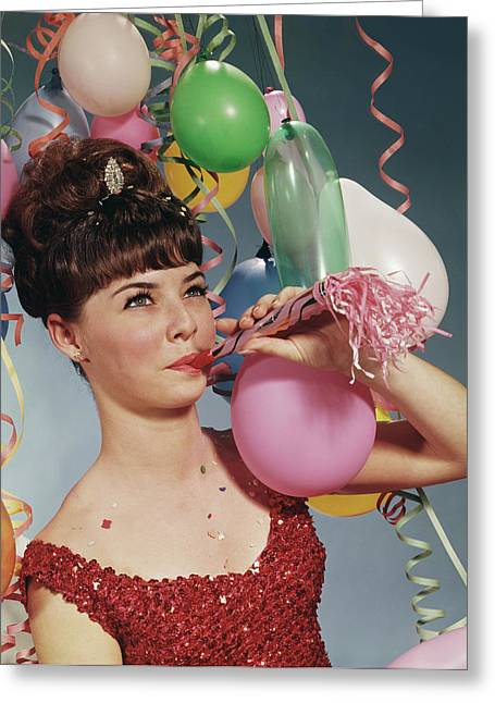 1970s Woman Party Balloons New Years Greeting Card