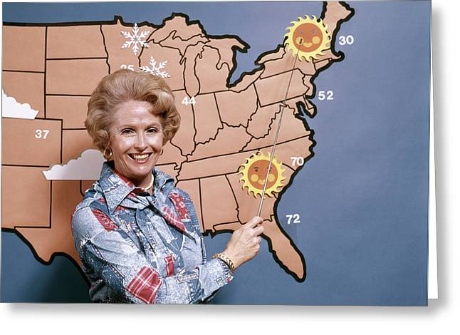 1970s Woman Reporting Weather Pointing Greeting Card