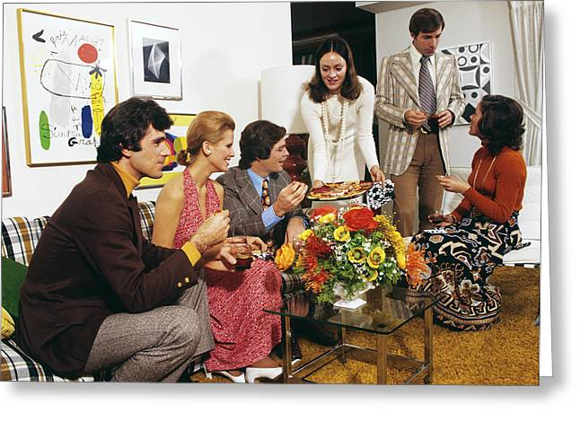 1970s Young Adult People At Home Party Greeting Card
