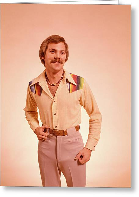 1970s Young Man Portrait Mustache Greeting Card