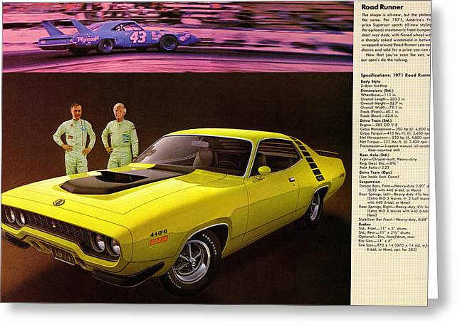 1971 Plymouth Road Runner 440 Greeting Card by Digital Repro Depot