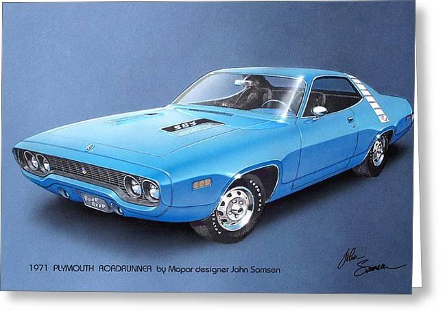 1971 Roadrunner Plymouth Muscle Car Sketch Rendering Greeting Card by John Samsen