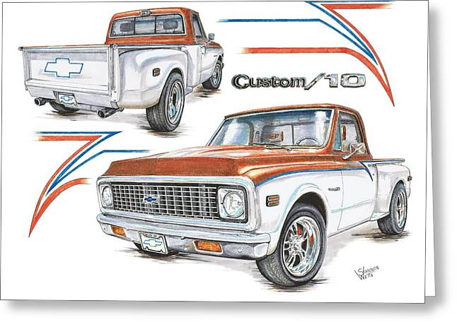 1972 Chevy C-10 Pickup Greeting Card by Shannon Watts