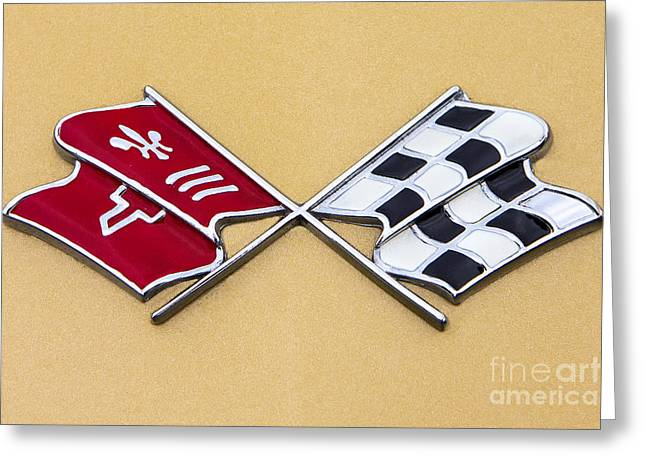 1972 Corvette Crossed Flags Greeting Card by Jerry Fornarotto
