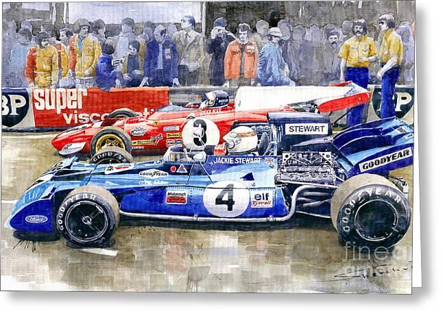 1972 French Gp Jackie Stewart Tyrrell 003  Jacky Ickx Ferrari 312b2  Greeting Card by Yuriy Shevchuk