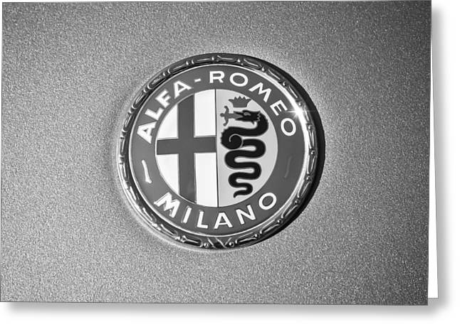 1973 Alfa Romeo Gtv Emblem -0226bw55 Greeting Card