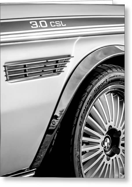 1973 Bmw 3.0 Csl Side Emblem - Wheel Emblem -1294bw Greeting Card