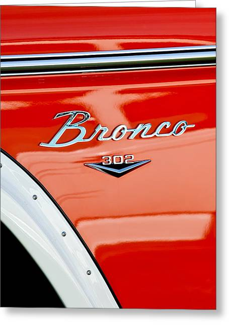 1973 Ford Bronco Custom 2 Door Emblem Greeting Card by Jill Reger
