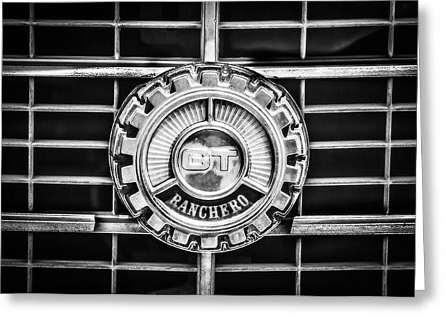 1973 Ford Ranchero Grille Emblem -0769bw Greeting Card by Jill Reger