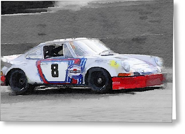 1973 Porsche 911 Watercolor Greeting Card by Naxart Studio