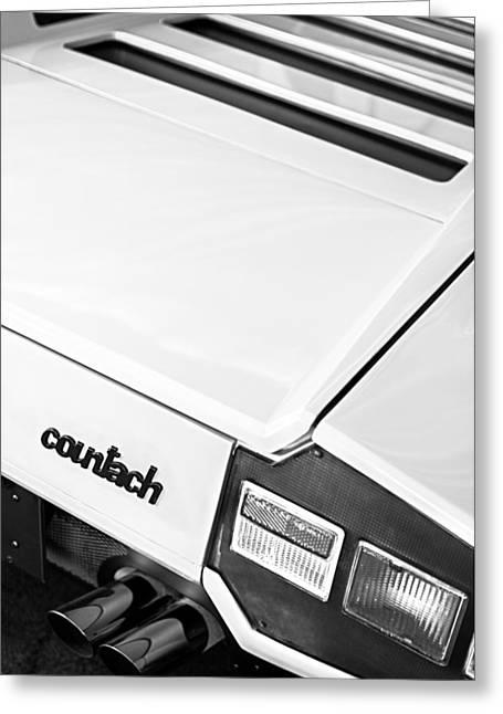 1975 Lamborghini Countach Lp400 'periscopica' Rear Emblem Greeting Card by Jill Reger