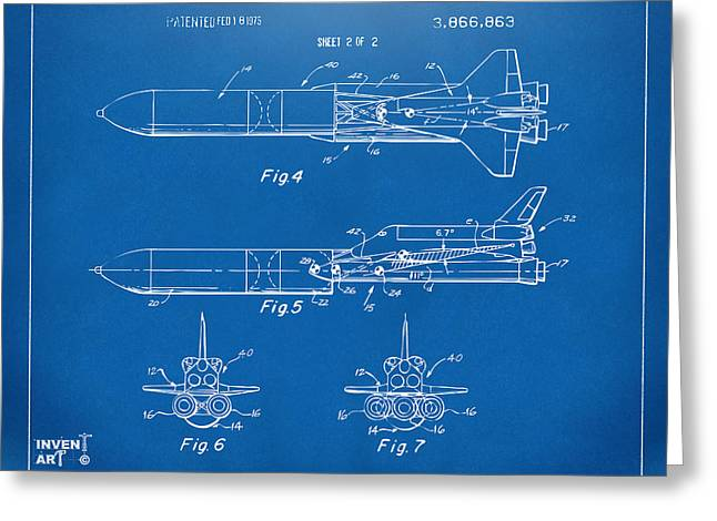1975 Space Vehicle Patent - Blueprint Greeting Card