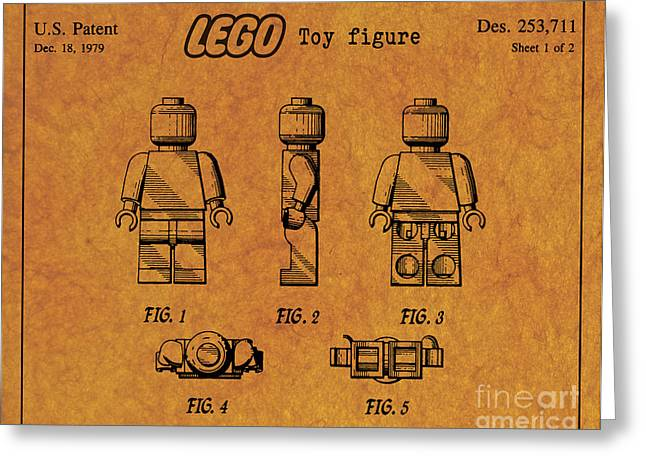 1979 Lego Minifigure Toy Patent Art 4 Greeting Card by Nishanth Gopinathan