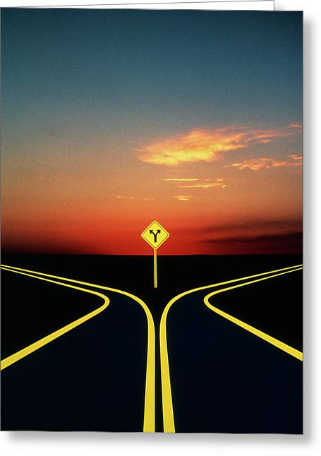 1980s 1990s Fork In The Road Concept Greeting Card